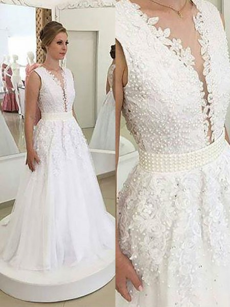 A-Line V-neck Applique Sweep/Brush Train Tulle Ball Gown Wedding Dresses