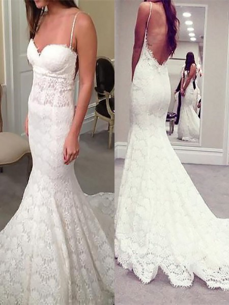 Mermaid Spaghetti Straps Court Train Lace Ball Gown Wedding Dresses
