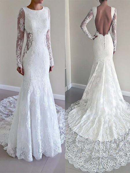 Mermaid Scoop Court Train Lace Ball Gown Wedding Dresses