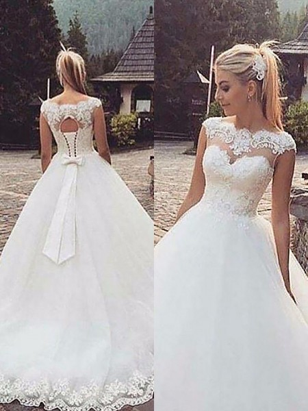 Bateau Lace Tulle Court Train Ball Gown Wedding Dresses