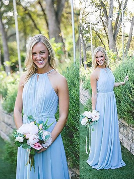 A-Line Halter Chiffon Floor-Length Bridesmaid Dresses