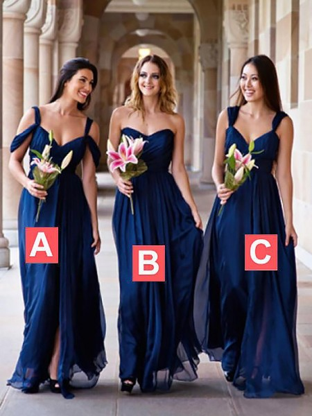A-Line Chiffon Floor-Length Bridesmaid Dresses