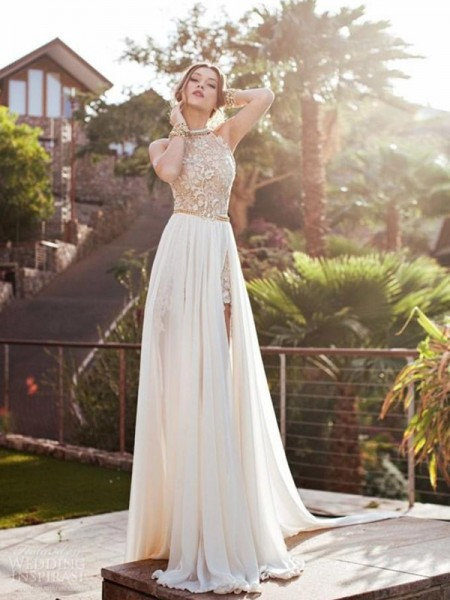 A-Line Halter Lace Chiffon Sweep/Brush Train Prom Dresses