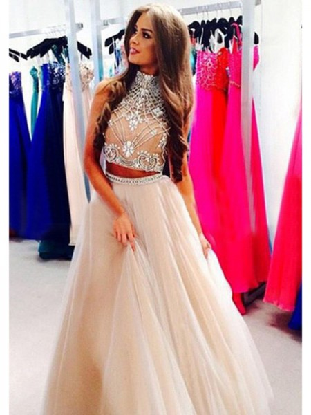 A-Line High Neck Beading Tulle Floor-Length Prom Dresses