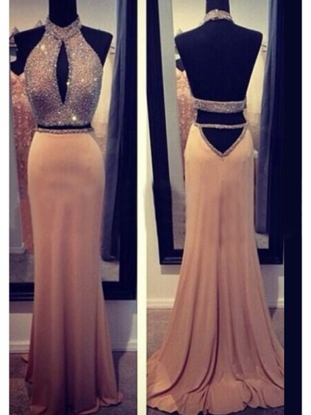 Sheath Halter Beading Chiffon Sweep/Brush Train Prom Dresses