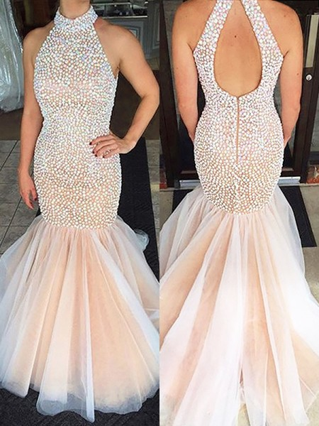 Mermaid Halter Beading Tulle Sweep / Brush Train Prom Dresses