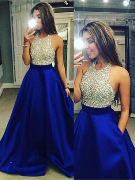 Jewel Crystal Satin Floor-Length Ball Gown Prom Dresses