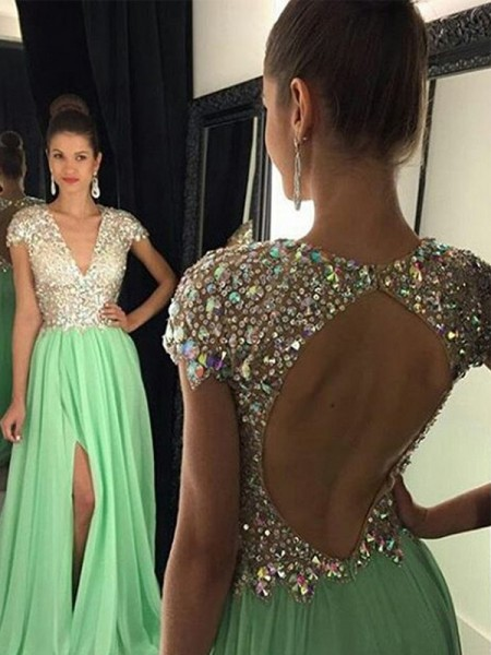 A-Line V-neck Chiffon Sequin Floor-Length Prom Dresses