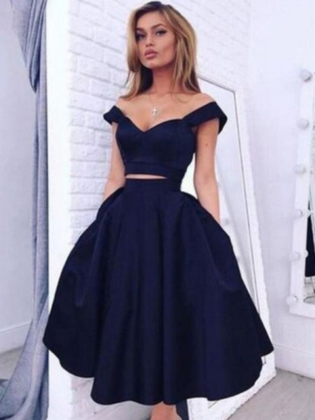 A-Line Off-the-Shoulder Tea-Length Satin Two Piece Homecoming Dresses