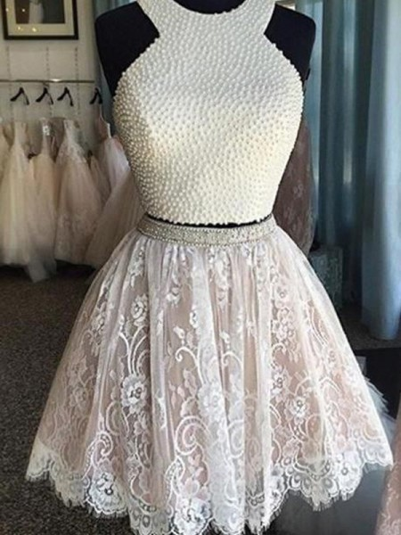 A-Line Halter Pearls Short/Mini Lace Two Piece Homecoming Dresses