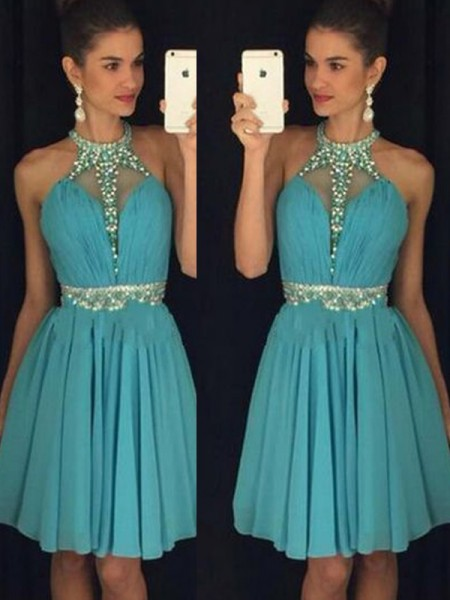A-Line Halter Short/Mini Beading Chiffon Homecoming Dresses