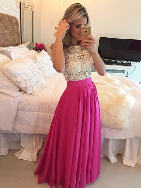 A-Line Scoop Lace Floor-Length Chiffon Prom Dresses