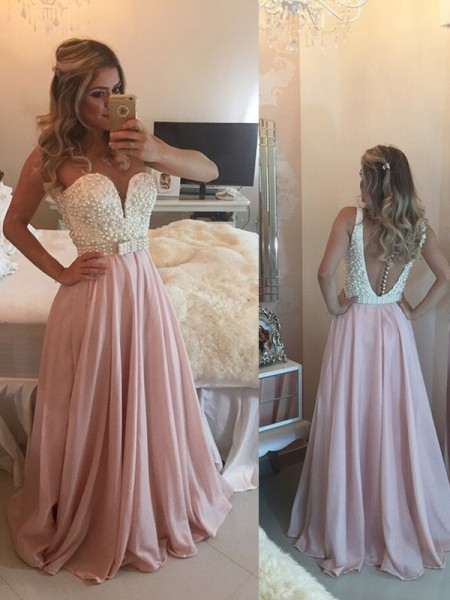 A-Line Sweetheart Pearls Floor-Length Chiffon Prom Dresses