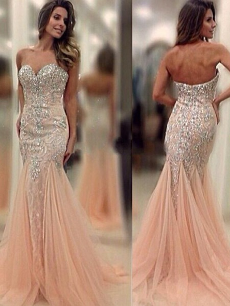 Mermaid Sweetheart Sweep/Brush Train Beading Tulle Prom Dresses