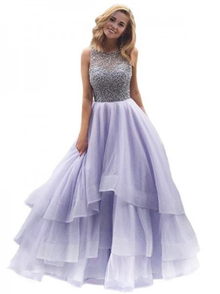 Scoop Floor-Length Beading Organza Ball Gown Prom Dresses
