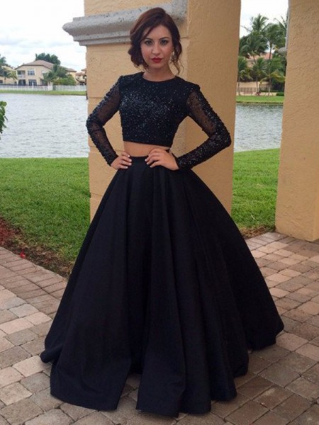 Scoop Floor-Length Satin Beading Ball Gown Prom Dresses