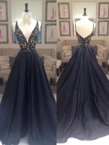 A-Line V-neck Sweep/Brush Train Taffeta Prom Dresses