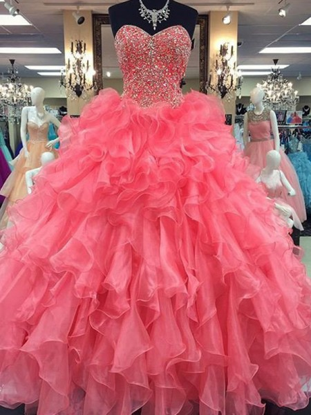 Sweetheart Floor-Length Beading Organza Ball Gown Prom Dresses