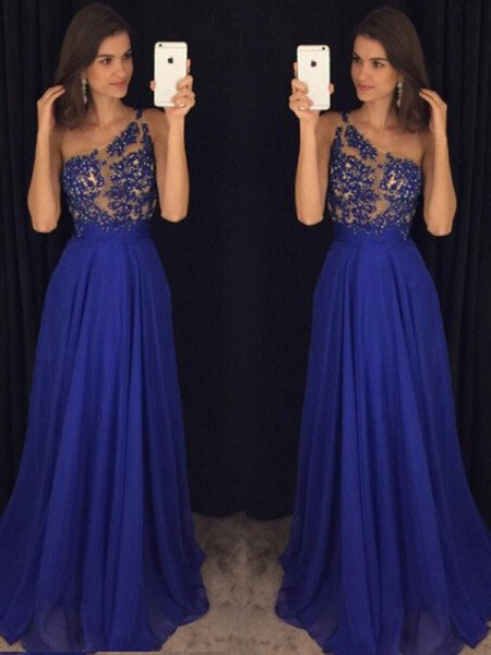 A-Line One-Shoulder Floor-Length Beading Chiffon Prom Dresses