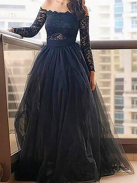 A-Line Off-the-Shoulder Lace Floor-Length Tulle Prom Dresses
