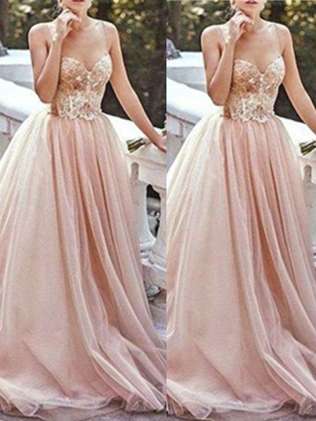 A-Line Sweetheart Sweep/Brush Train Beading Tulle Prom Dresses