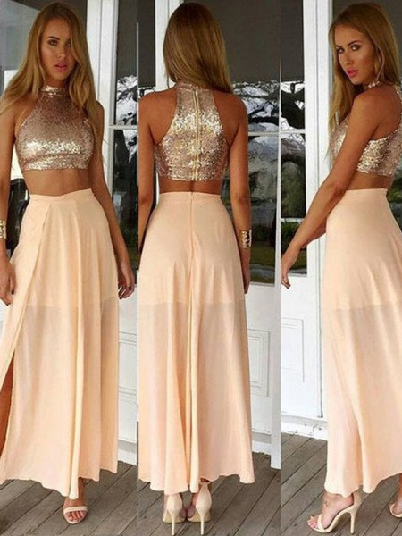 A-Line High Neck Sequin Chiffon Ankle-Length Prom Dresses
