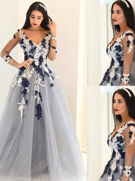 A-Line V-Neck Applique Tulle Floor Length Prom Dresses