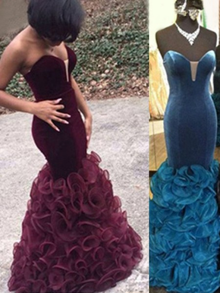 Mermaid Sweetheart Satin Floor-Length Prom Dresses
