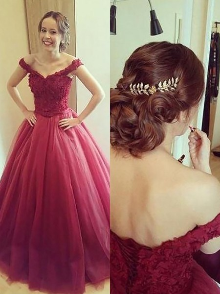 Off-the-Shoulder Applique Court Train Tulle Ball Gown Prom Dresses