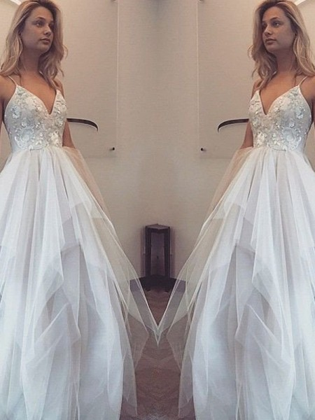 A-Line Spaghetti Straps Floor-Length Tulle Prom Dresses