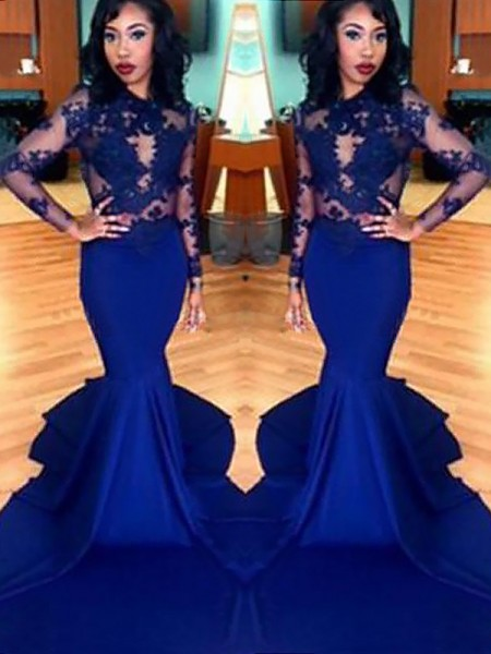 Mermaid Scoop Lace Satin Sweep/Brush Train Prom Dresses
