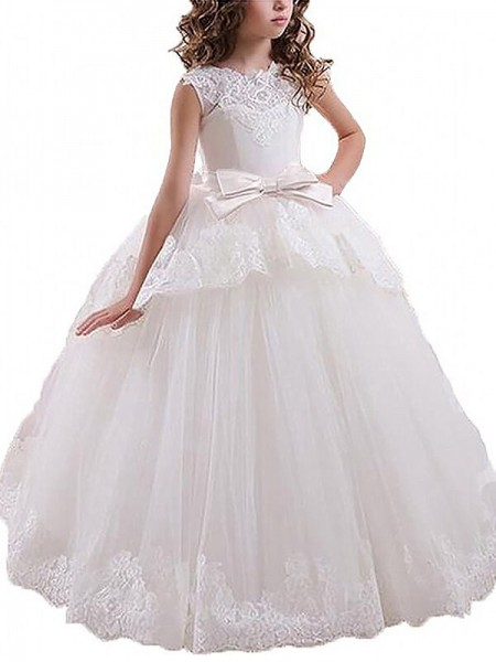 Scoop Sash/Ribbon/Belt Floor-Length Tulle Ball Gown Flower Girl Dresses