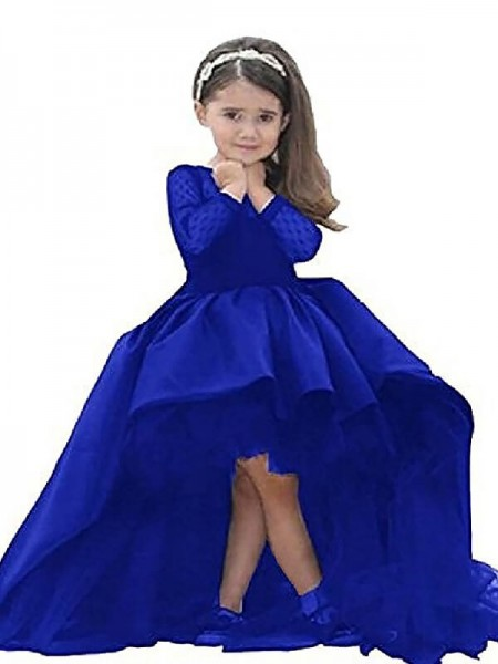 a0db1a5c352 Scoop Sash Ribbon Belt Sweep Brush Train Satin Ball Gown Flower Girl Dresses  ...