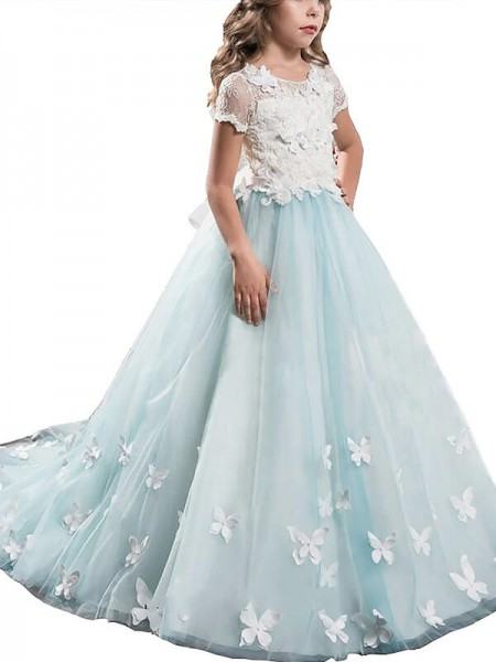 A-Line Scoop Lace Tulle Floor-Length Flower Girl Dresses