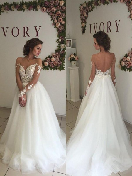 A-Line Organza Off-the-Shoulder Sweep/Brush Train Wedding Dresses