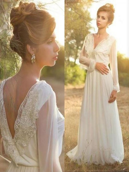 A-Line V-neck Lace Chiffon Sweep/Brush Train Wedding Dresses