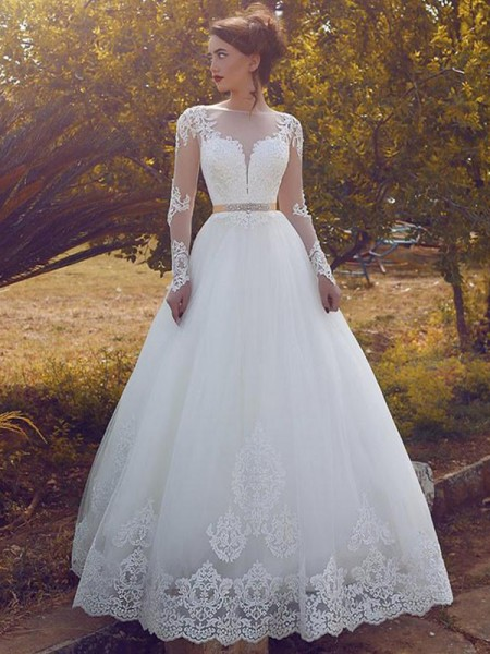 Bateau Tulle Floor-Length Ball Gown Wedding Dresses