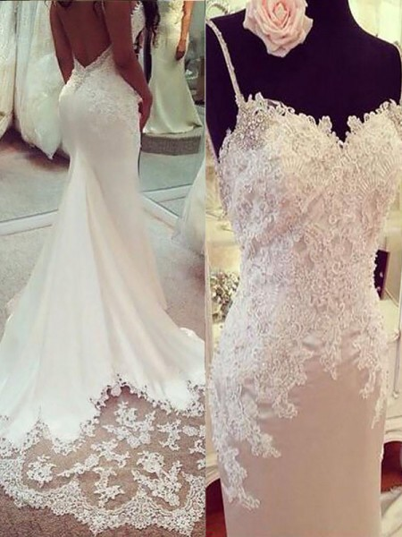 Mermaid Applique Satin Spaghetti Straps Court Train Wedding Dresses