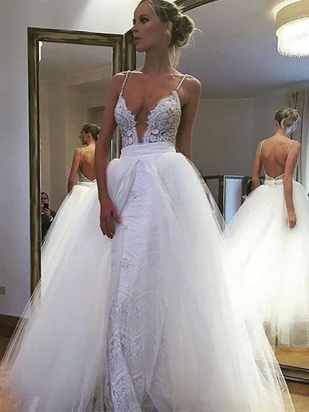 A-Line Tulle Lace Spaghetti Straps Floor-Length Wedding Dresses