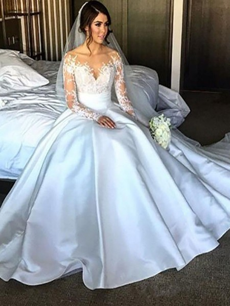 Satin Court Train Ball Gown Wedding Dresses