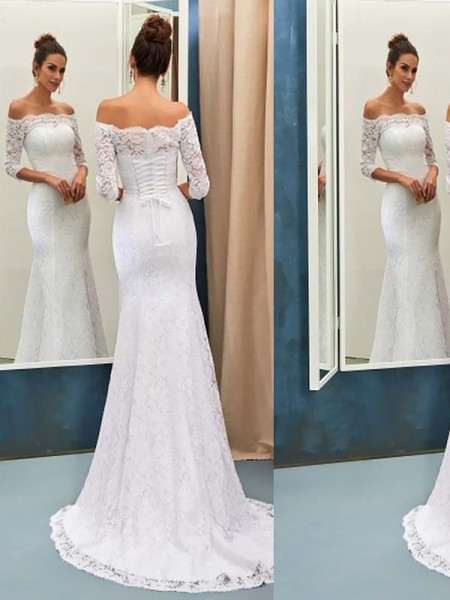 Mermaid Off-the-Shoulder Sweep/Brush Train Lace Wedding Dresses