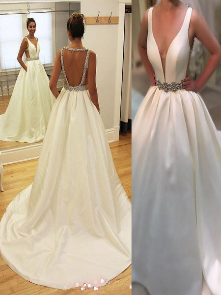 A-Line Court Train Satin V-neck Wedding Dresses