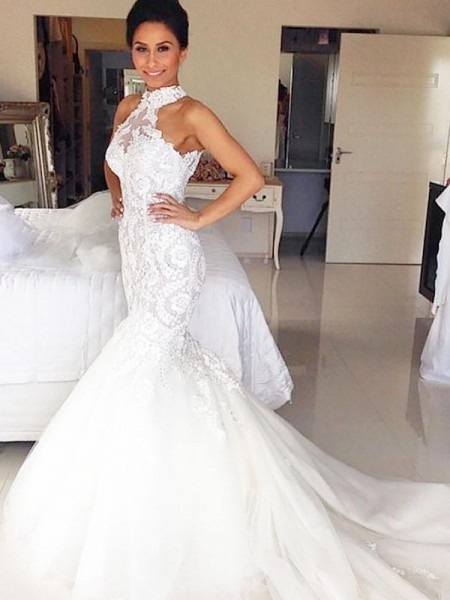 Mermaid Halter Court Train Tulle Wedding Dresses