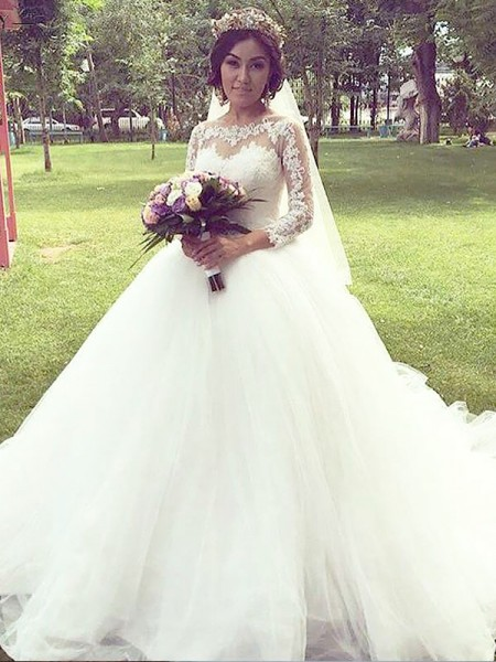 Tulle Bateau Court Train Ball Gown Wedding Dresses