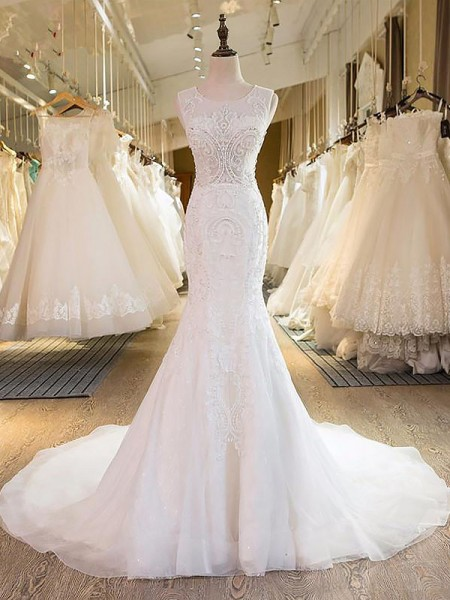 Mermaid Scoop Tulle Sweep/Brush Train Wedding Dresses
