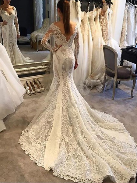 Mermaid V-neck Court Train Lace Wedding Dresses