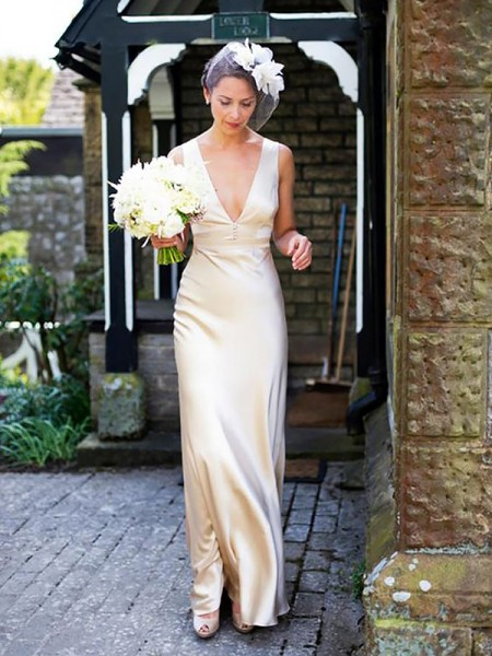 Sheath Satin V-neck Floor Length Wedding Dresses