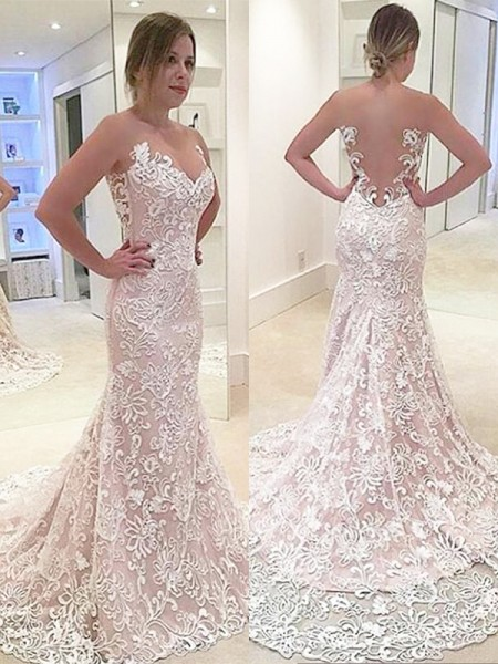 Mermaid Lace Sweetheart Sweep/Brush Train Wedding Dresses