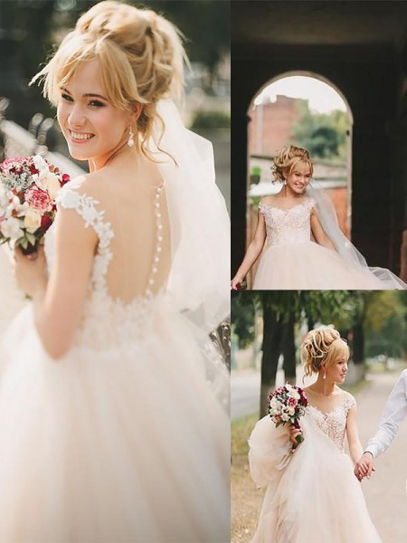 A-Line Scoop Court Train Tulle Ball Gown Wedding Dresses