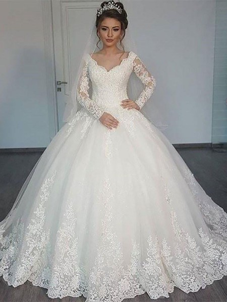 Court Train V-neck Tulle Ball Gown Wedding Dresses